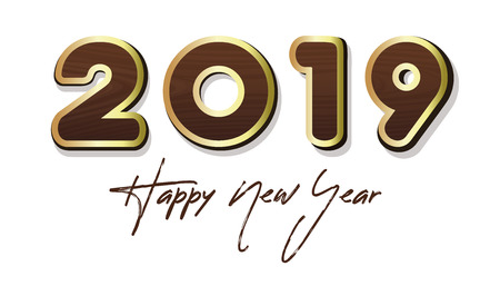Stylized lettering for Year 2019. Happy New Year 2019. Wooden lettering with gold stroke. Vector illustration