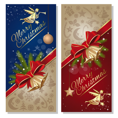 Festive red and blue background with angel and gold jingle bells. Christmas banner set. Vector flyer template for Christmas and New Year