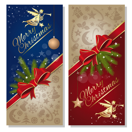 Merry Christmas design. Festive red and blue background with red ribbon and bow, angel and design elements for Christmas and New Year. Vector flyer template