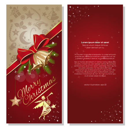 Festive red background with Christmas angel and gold jingle bells. Flyer template for Christmas and New Year. Front and back. Vector illustration