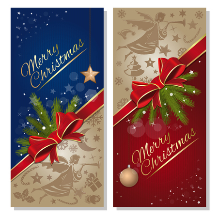 Christmas banner set. Merry Christmas. Festive red and blue background with flying angel, spruce branch, red ribbon and bow, and design elements for Christmas and New Year. Vector flyer template Çizim