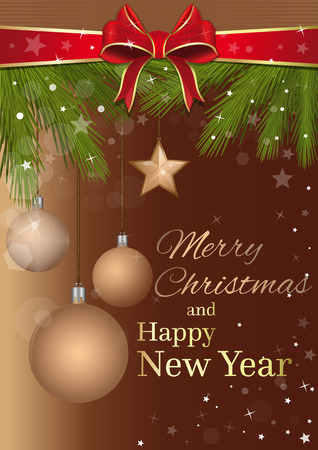 Merry Christmas and Happy New Year. Holiday background with branches of spruce and Christmas toys. Vector illustration