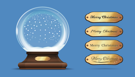 Christmas empty snow globe with interchangeable gold sign. Merry Christmas. Empty snow globe with replaceable inscriptions. Vector illustration
