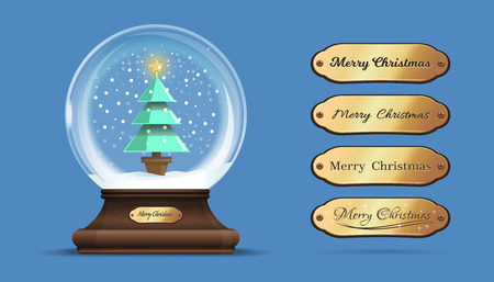 Snow globe with a a Christmas tree inside. Glass sphere on an elegant wooden stand with interchangeable gold sign with congratulatory inscription. Merry Christmas. Vector illustration Çizim