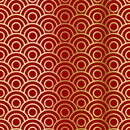 Golden circular waves on a red background. Red and gold Chinese pattern background. Seamless repeating pattern. Vector illustration
