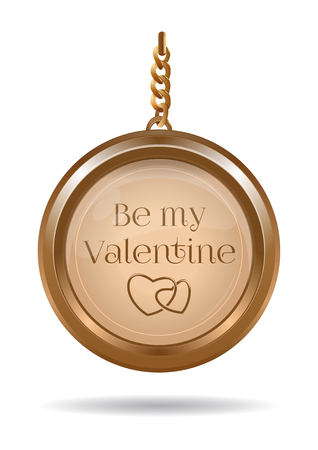 Gold jewelry for Valentines Day. Gold locket on a chain with the inscription - Be my Valentine. Vector illustration isolated on white Çizim