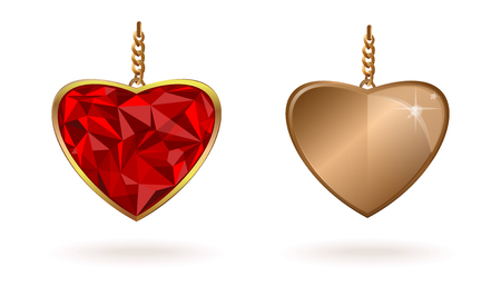 Gold jewelry in the shape of a heart on a chain