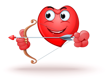 Happy smiling heart archery. Funny cartoon heart shaped character shoots a bow. Vector illustration