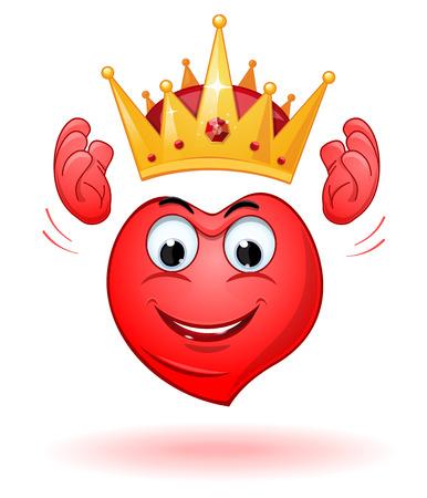 Cartoon smiling heart holds a crown above his head Ilustración de vector
