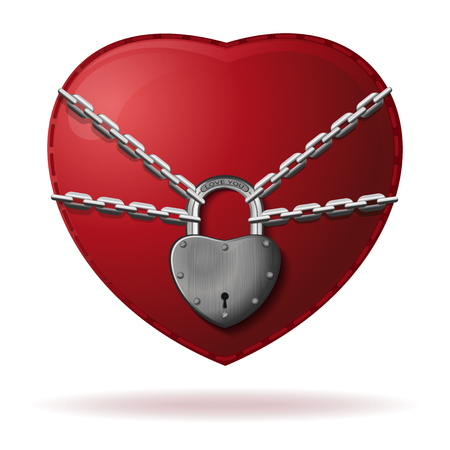 Heart is wrapped with a chain and locked