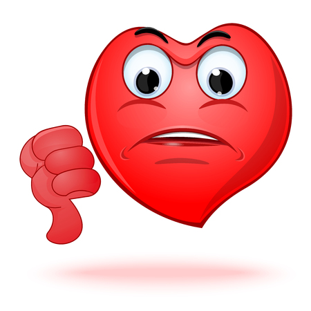 Emoticon heart shaped face showing thumbs down