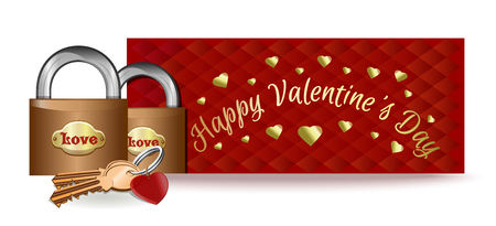 Valentines Day design with a pair of locks and key. Locks on the background of a greeting card. Vector illustration