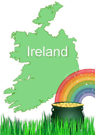 Magic pot of gold at the end of the rainbow. Treasure of leprechaun on the background of the map of Ireland. Concept design for St. Patricks Day. Vector illustration  イラスト・ベクター素材