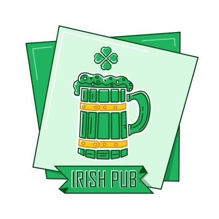 Irish Pub logo. Green flat style icon