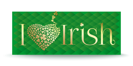 I love Irish. Abbreviation with heart consisting of clover petals. Golden text on green background. Vector illustration