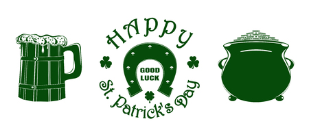 St. Patricks Day green vector icon set Çizim