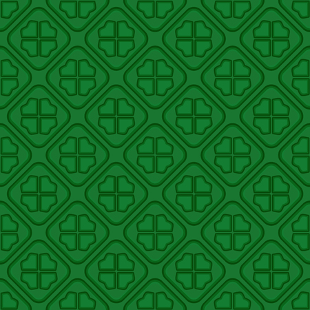 Green vector seamless pattern with four leaf clover. St. Patricks Day background. Vector illustration