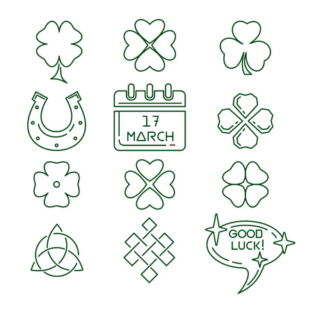 St. Patricks Day line icons set. March 17. Good luck. Green symbols collection for St. Patricks Day. Vector illustration