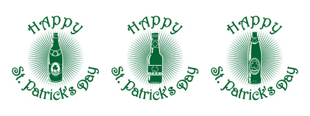 St. Patricks Day green icon set with beer