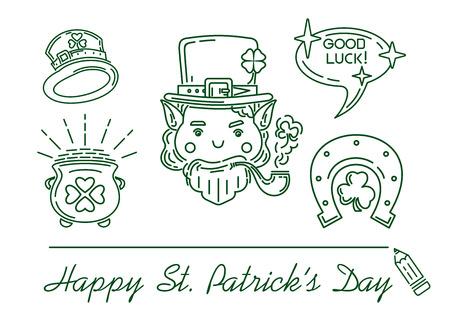 Line icon set for St. Patricks Day