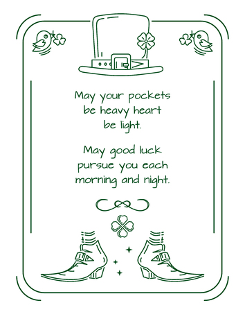Traditional greeting in verse with St. Patrick's Day. Green template frame for St. Patricks Day. Vector illustration Banque d'images - 124679575