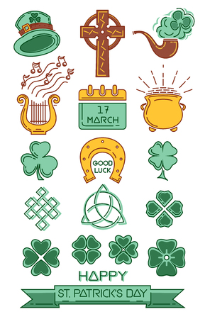 Color icon set for St. Patricks Day