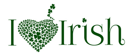 I love Irish. Abbreviation with heart consisting of clover petals. Vector illustration isolated on white