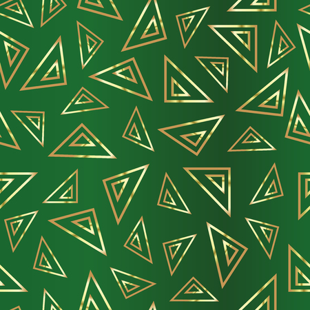 Golden triangles on a green background. Green abstract drawing. Duplicate abstract seamless pattern. Vector illustration Çizim
