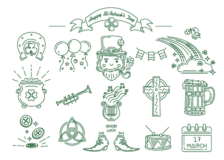 St. Patricks Day symbol collection. Line icon set for St. Patrick's Day. Vector illustration Banque d'images - 124679578