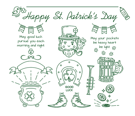 St. Patricks Day symbol collection. Line icon set for St. Patrick's Day. Vector illustration Banque d'images - 124679579