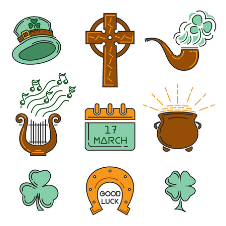Multicolored icons set for St. Patricks Day