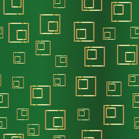 Golden rectangle on a green background. Duplicate abstract seamless pattern. Vector illustration