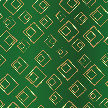 Golden rectangle on a gren background. Duplicate abstract seamless pattern. Vector illustration  イラスト・ベクター素材