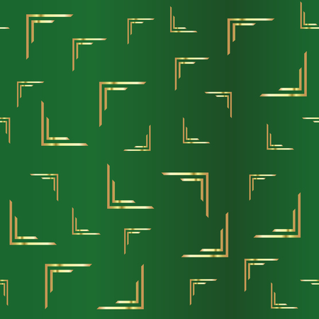 Golden abstract drawing on a green background. Duplicate abstract seamless pattern. Vector illustration  イラスト・ベクター素材