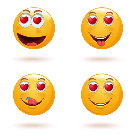 Emoticon face set with hearts instead of eyes. The collection of love emoticons. Yellow emoji set for Valentines Day. Vector illustration