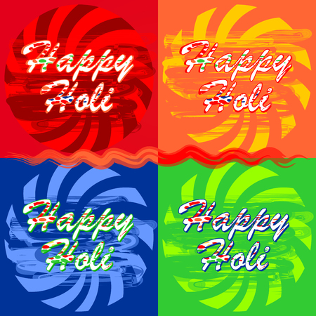 Colorful banners set for Holi annual Hindu spring festival of colors. Collection illustration of abstract colorful Happy Holi background