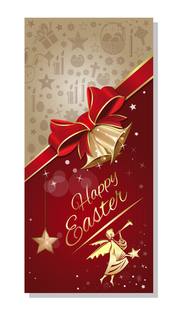Easter greeting card. Festive Easter background with basket of Easter eggs, church, flying angel, red ribbon and bow and inscription - Happy Easter. Vector illustration 写真素材 - 124602576