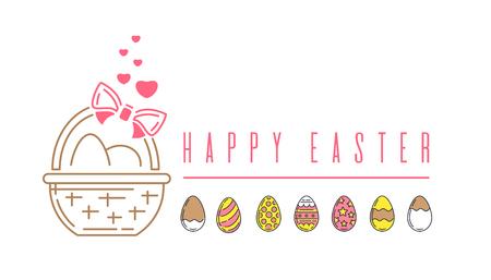 Line logo icon with a basket of Easter eggs. Colorful Easter logo. Easter banner. Vector illustration Çizim