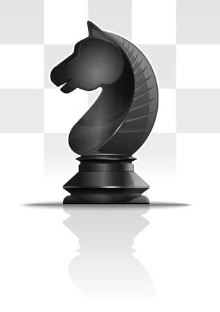 Black chess knight on a background of chessboard cells. Chess knight figure. Horse symbol. Chess concept design. Realistic vector illustration