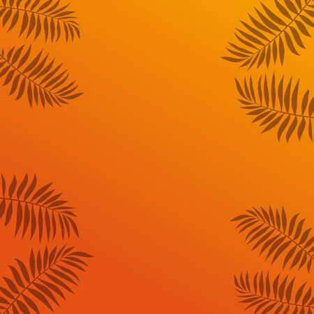 Shadows of tropical palm leaves on an orange background. Sunny summer design. Vector illustration