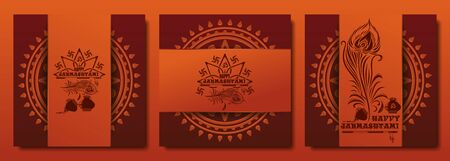 Collection of festive backgrounds for Krishna Janmasthami. Banners set for the birthday of Krishna. Vector illustration
