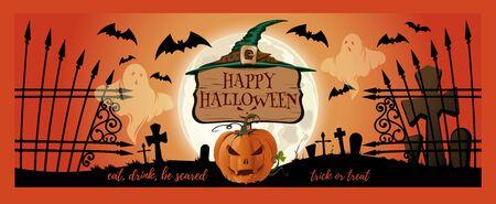 Halloween card design. Halloween banner design with Halloween pumpkin, bats and cemetery ghosts. Vector illustration
