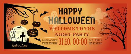 Halloween Night Party Invitation Flyer. Halloween banner design with Halloween pumpkins and cemetery ghosts. Vector illustration