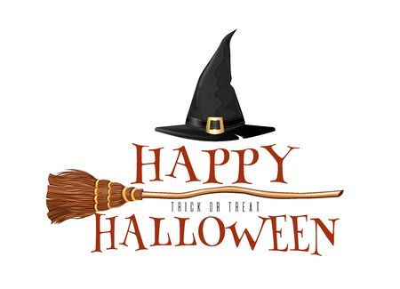 Halloween design with witches broom and hat