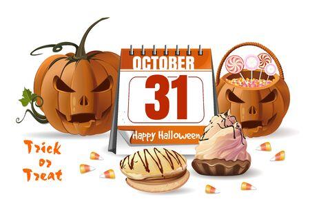 Design with Halloween calendar, jack o lantern