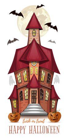 Carte de voeux d'Halloween avec une maison hantée Vecteurs