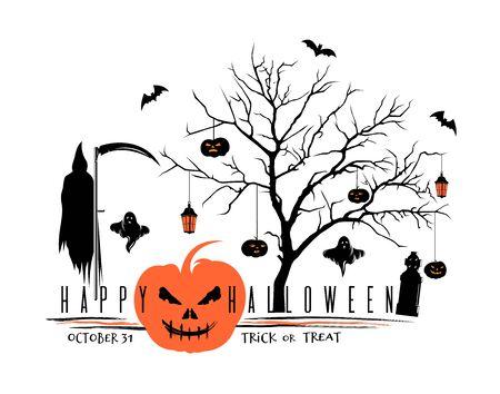 Halloween black orange   design. Eat, drink, be scared. Trick or treat. October 31. Vector illustration Illustration