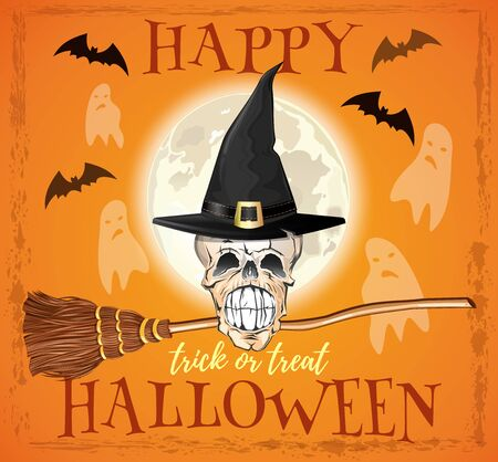 Halloween design. Skull of a witch in a hat and with a broom. Trick or treat. Skeleton of a witch on a background of the full moon. Vector illustration Ilustrace