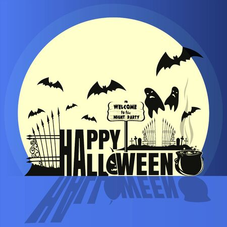 Happy Halloween sticker. Concept art. Halloween night party. Cemetery with ghosts. Vector illustration Illustration