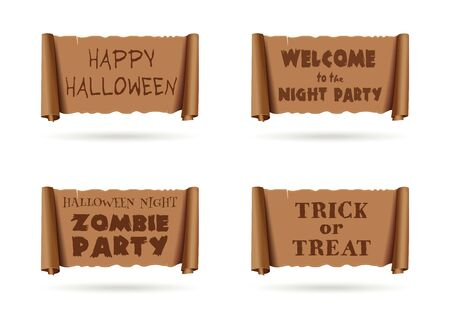 Halloween banners collection. Halloween inscriptions set on an ancient parchment. Happy Halloween. Welcome to the Halloween Night Zombie Party. Trick or Treat. Vector illustration